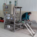 automatic cleaning steam disinfection and filling-beer into keg-barrels